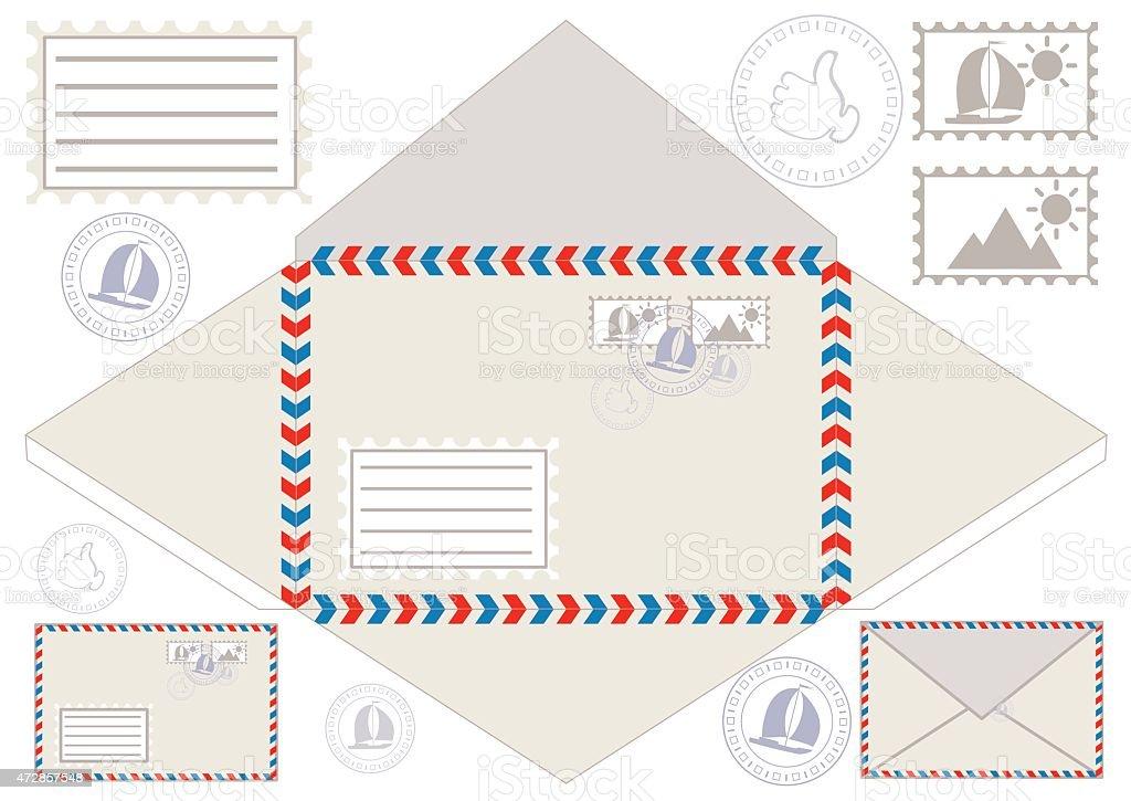 Sobre para correo sellos pegatinas y postal ilustraci n vectorial arte vectorial de stock y for Correo postal mas cercano