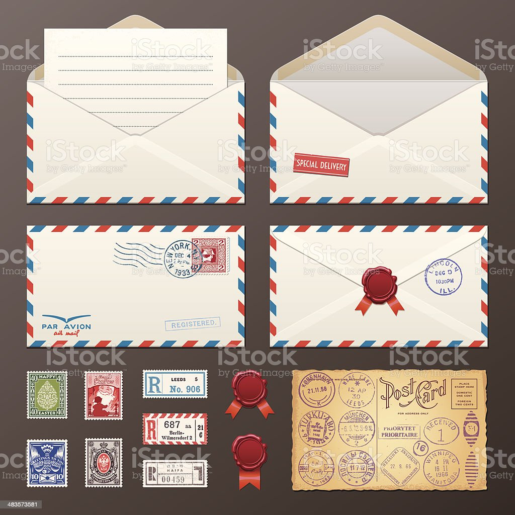 Mail Envelope, Stickers, Stamps, Postcard vector art illustration