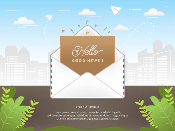 Mail envelope with good news text Mail envelope with good news text. Mail envelope vector illustration. Opening an e-mail, Vector of good news envelope message good news stock illustrations