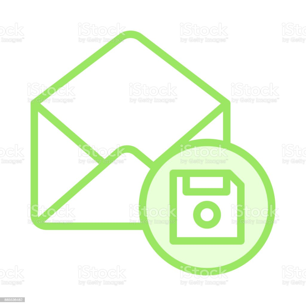 mail floppy colour line icon