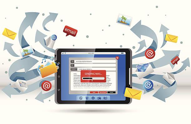 Courrier de tablette PC - Illustration vectorielle