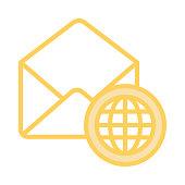 mail globe colour line icon