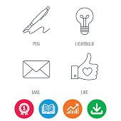 Mail, heart and lightbulb icons.