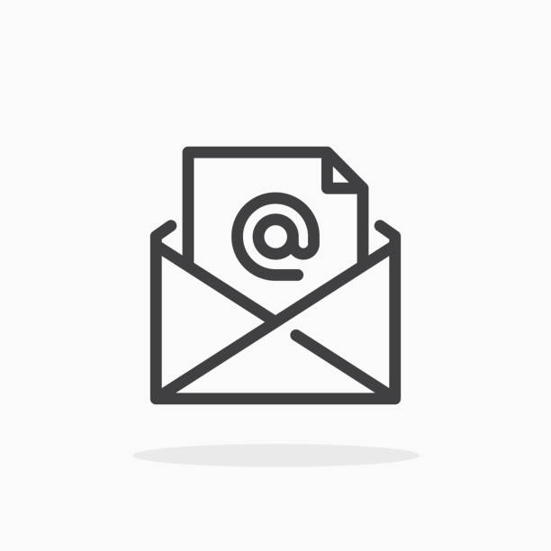 illustrazioni stock, clip art, cartoni animati e icone di tendenza di mail icon in line style. - email