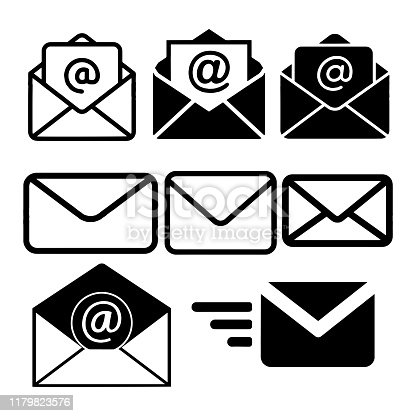 istock Mail icon isolated on White Background Vector illustration 1179823576