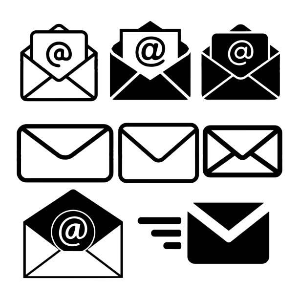 illustrazioni stock, clip art, cartoni animati e icone di tendenza di icona di posta isolata nell'illustrazione del vettore di sfondo bianco - email