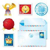 Mail icon set with envelope, post stamps and sealing wax stamp. Zip contains CDR-11, AI CS, JPG.