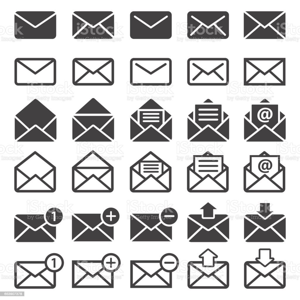 mail icon set vector art illustration