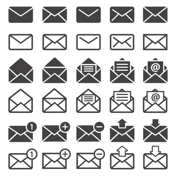 mail icon set - email icon stock illustrations, clip art, cartoons, & icons