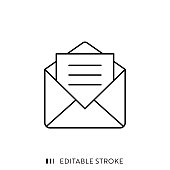 istock Mail Icon with Editable Stroke and Pixel Perfect. 1179756485