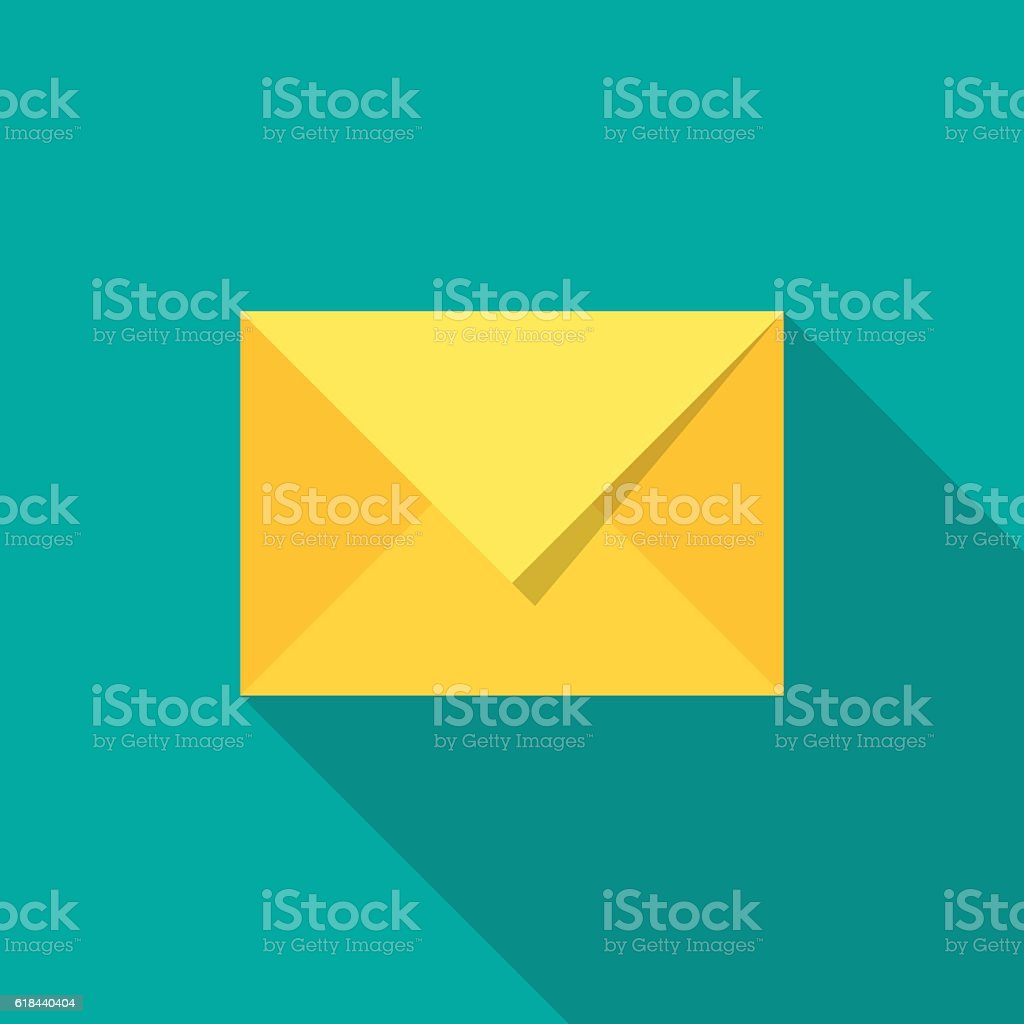 Mail icon with long shadow. – Vektorgrafik