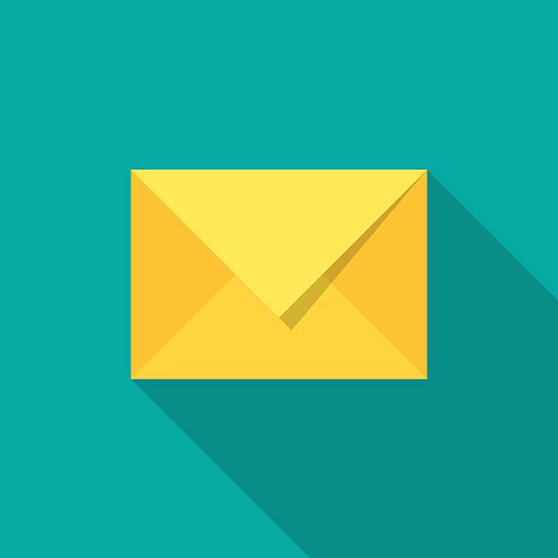 Mail icon with long shadow. – Vektorgrafik