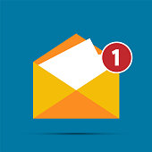 Mail icon,New email notification,Simple design style.vector illustration