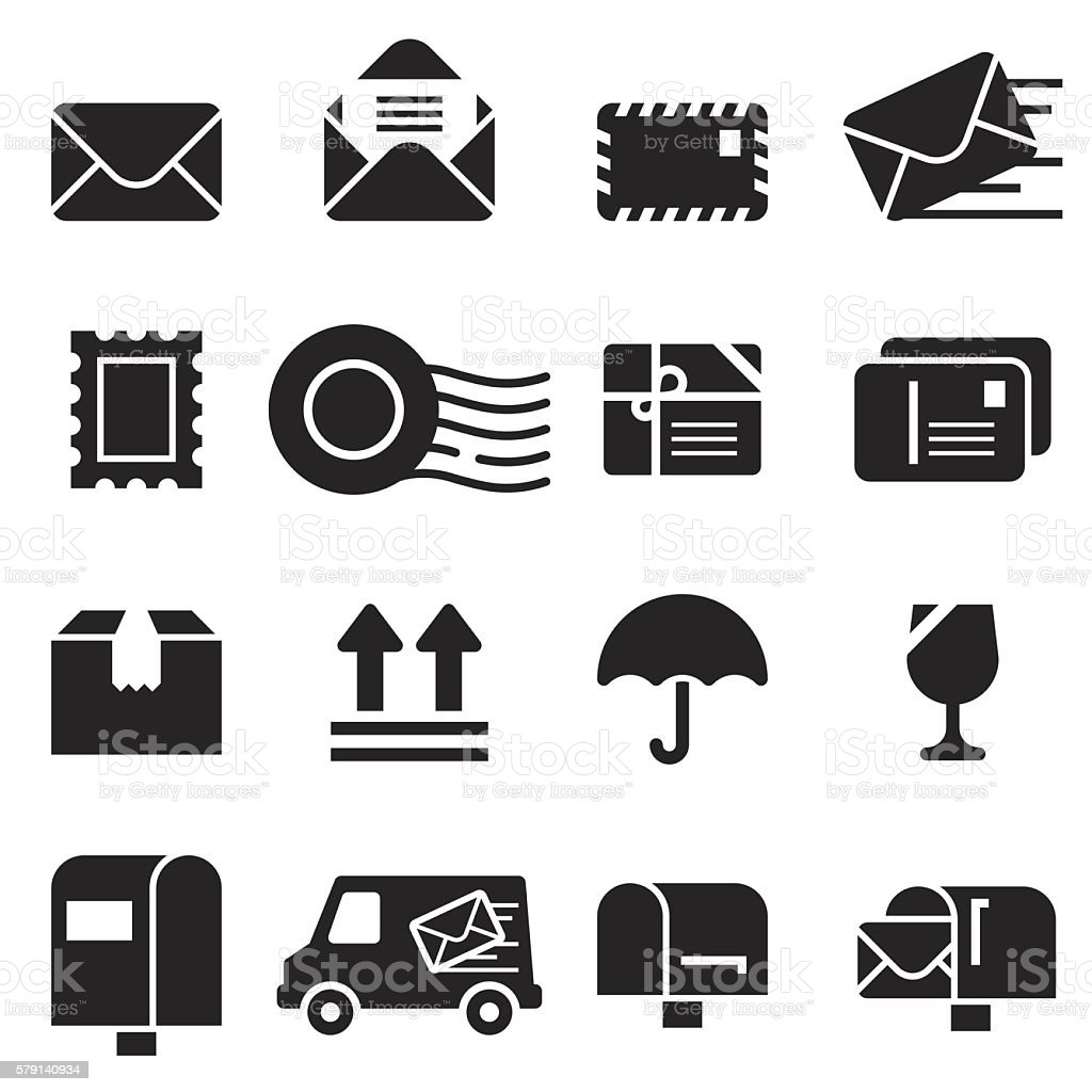 Mail Icons [Black Edition] vector art illustration