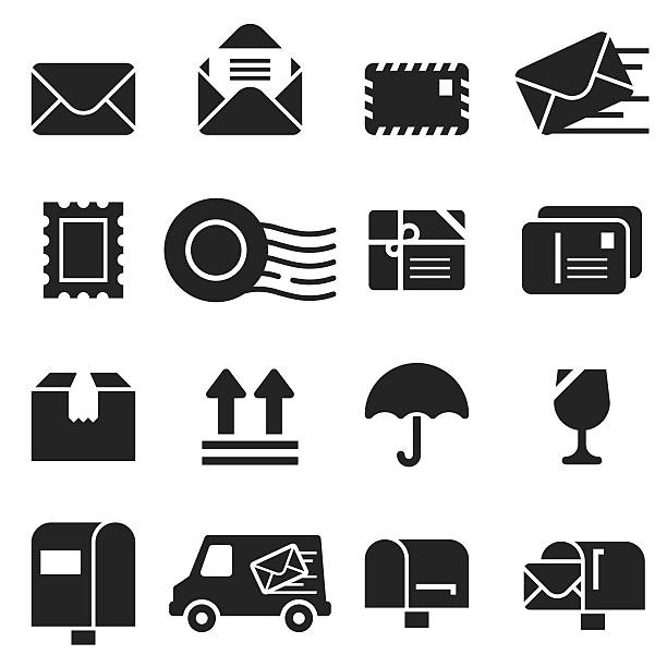 mail icons [black edition] - briefkasten stock-grafiken, -clipart, -cartoons und -symbole