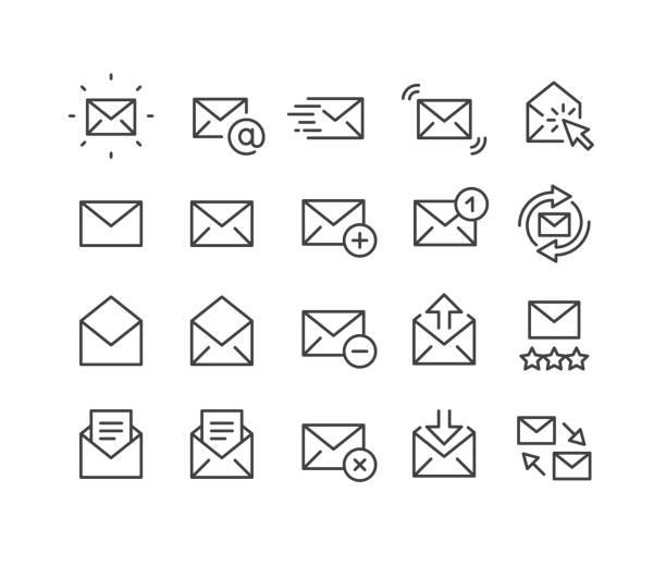 ilustrações, clipart, desenhos animados e ícones de ícones do correio - série clássica da linha - mensagem