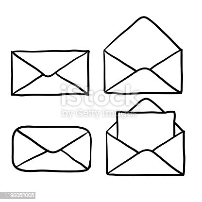 Mail icons collection, open and closed envelopes, e-mail symbol. hand drawn doodle style cartoon style