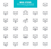 Messaging, Speech Bubble, Newsletter, E-Mail, Vector, Editable Icon Set
