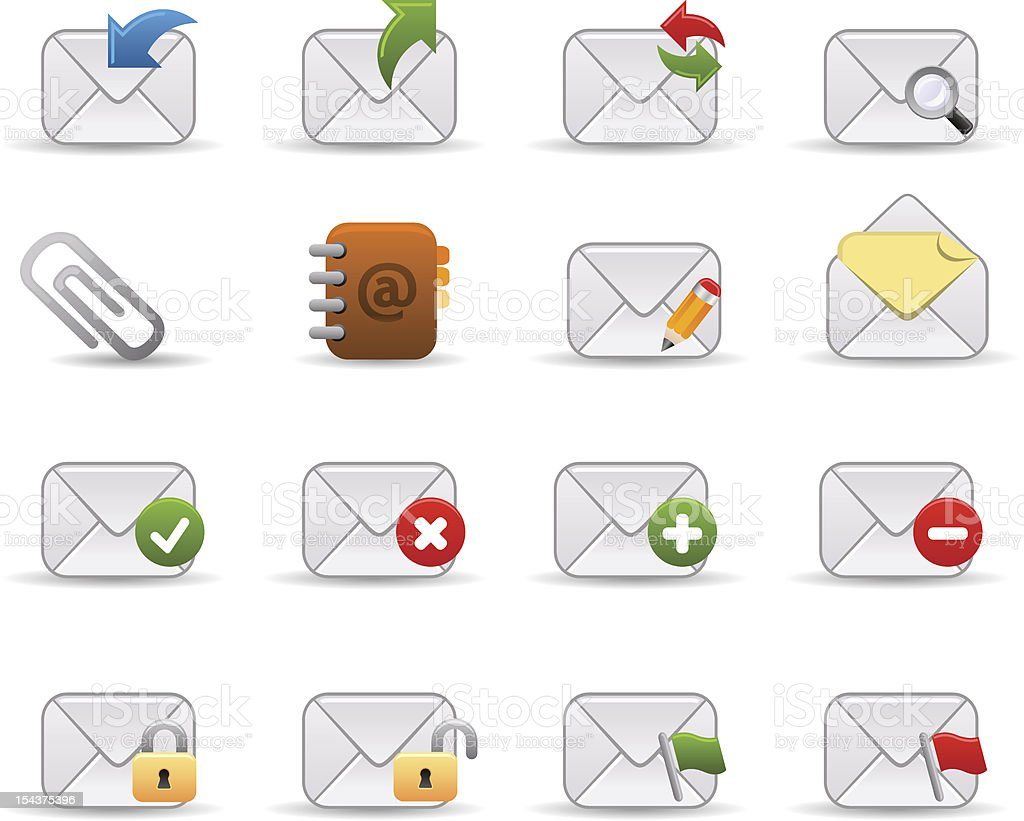 Mail icons   Smooth series royalty-free mail icons smooth series stock vector art & more images of attached