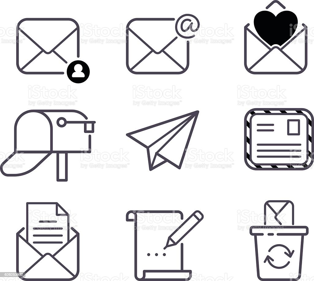 Mail icons vector set. vector art illustration