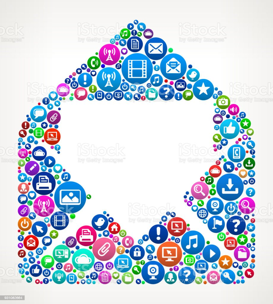 Mail Internet Communication Technology Icon Pattern vector art illustration
