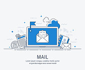 Laptop with envelope and document on screen. E-mail, email marketing, internet advertising concepts. Modern line art  vector illustration.