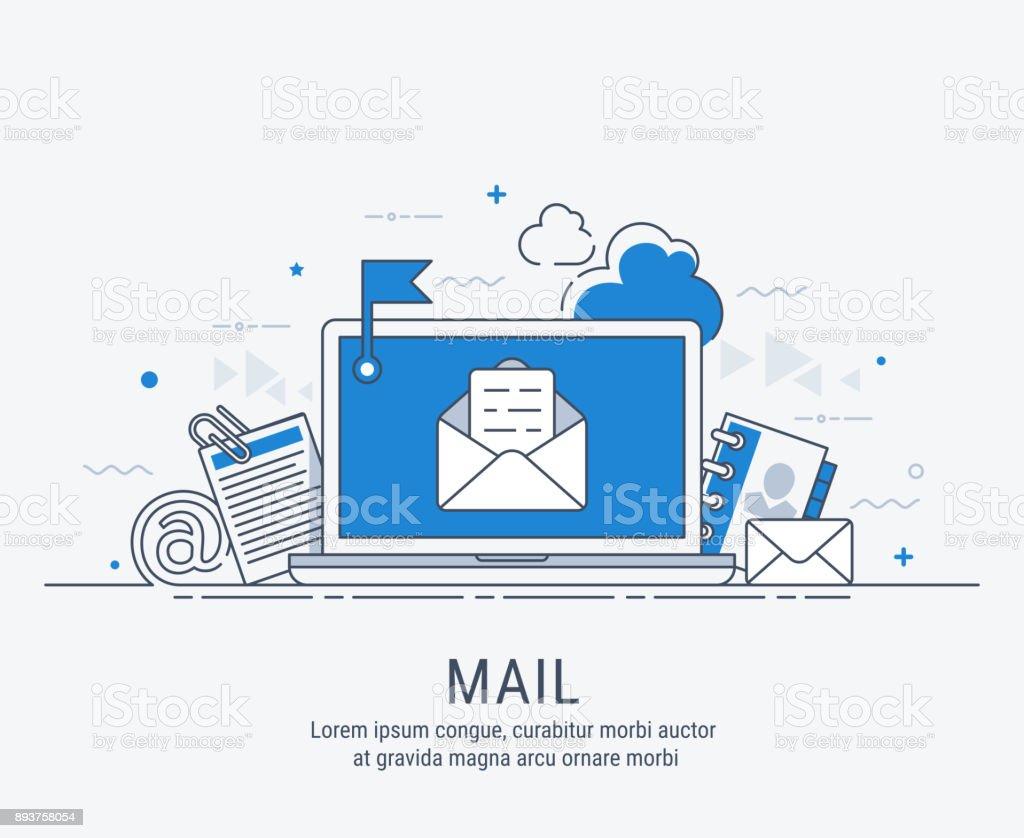 Mail line art illustration vector art illustration