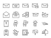 Mail line icon set. Included icons as email, dove, envelope, sent, post box and more.