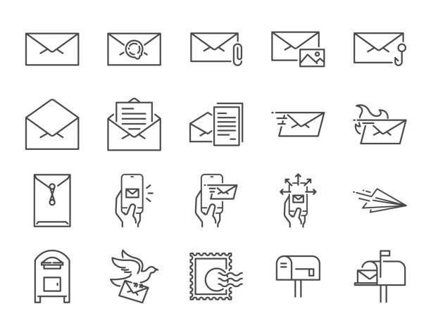 stockillustraties, clipart, cartoons en iconen met lijn postpictogram instellen. opgenomen iconen als e-mail, duif, envelop, verzonden, postbus en meer. - versturen