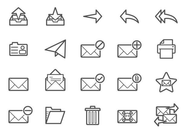 stockillustraties, clipart, cartoons en iconen met mail lijn icons set - versturen