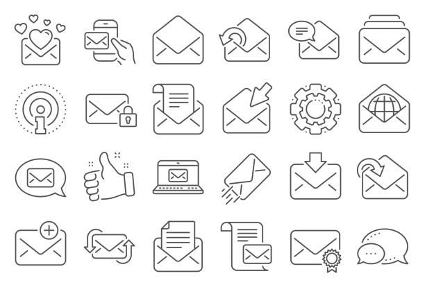 illustrazioni stock, clip art, cartoni animati e icone di tendenza di mail message line icons. set of newsletter, e-mail, correspondence. vector - newsletter