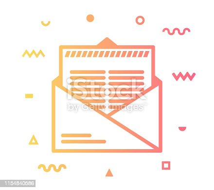 Mail notification outline style icon design with decorations and gradient color. Line vector icon illustration for modern infographics, mobile designs and web banners.
