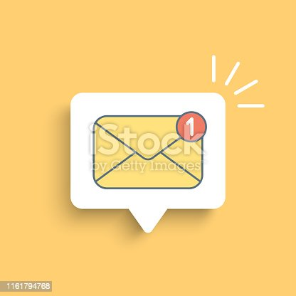 Yellow mail envelope with red marker. Delivery of messages, sms. Vector illustration in flat style.