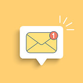 istock Mail notification on white bubble 1161794768