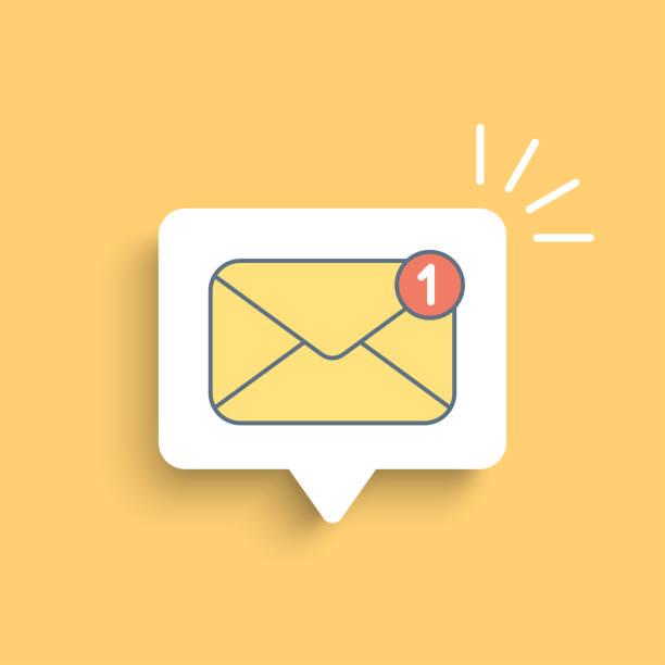 illustrazioni stock, clip art, cartoni animati e icone di tendenza di mail notification on white bubble - email