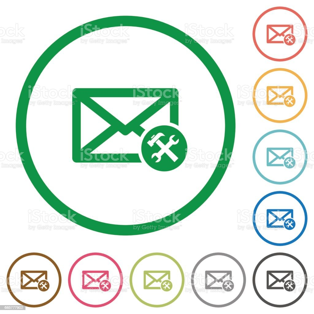 Mail preferences flat icons with outlines royalty-free mail preferences flat icons with outlines stock vector art & more images of applying