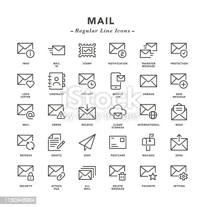 Mail - Regular Line Icons - Vector EPS 10 File, Pixel Perfect 30 Icons.