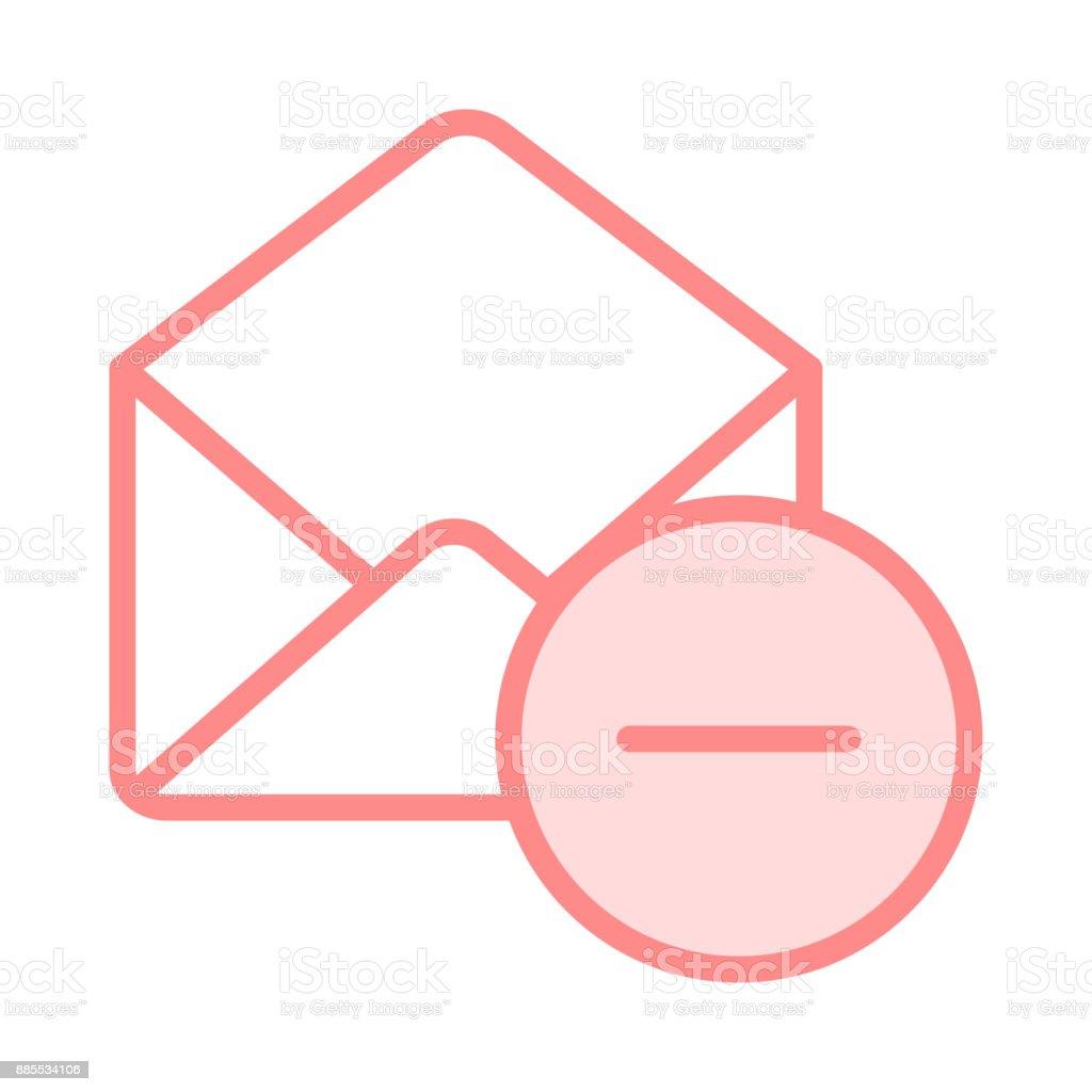 mail remove colour line icon