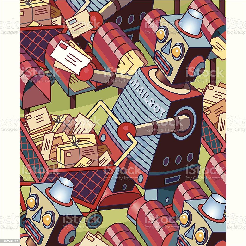 Mail Robot Green vector art illustration
