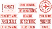 Mail rubber stamps.