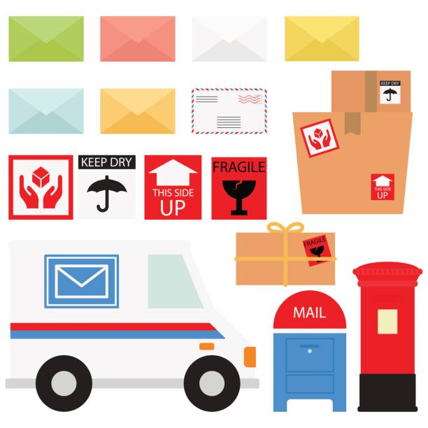 mail service / snail mail and packages in white background - postal worker stock illustrations