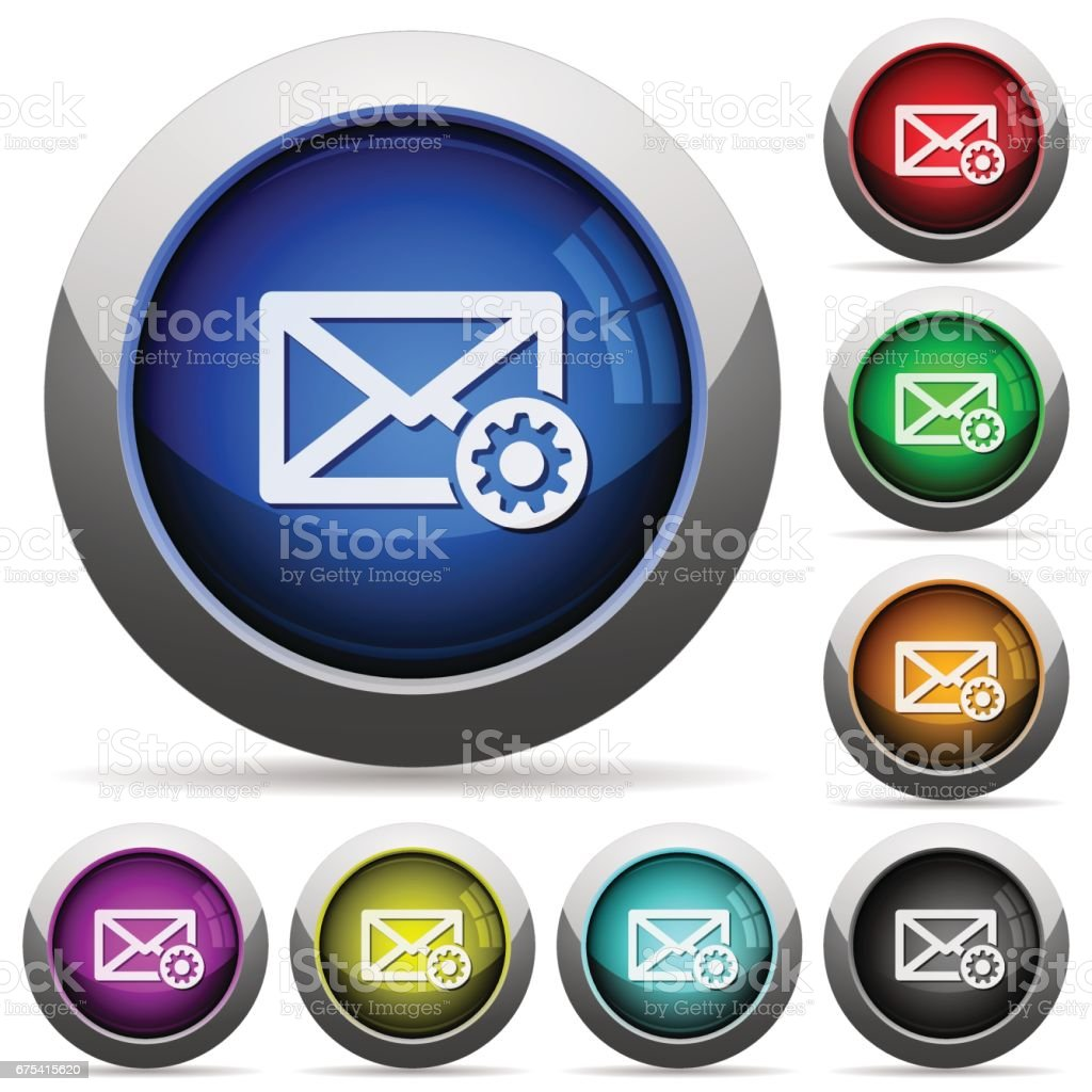 Mail settings button set mail settings button set – cliparts vectoriels et plus d'images de acier libre de droits