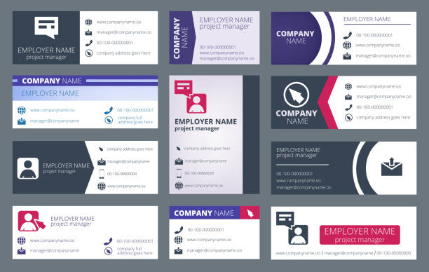 Mail signature. Individual text web mailing interface individualize signature forms vector template Mail signature. Individual text web mailing interface individualize signature forms vector template. Illustration of profile contact ui, emailing user card signature collection stock illustrations
