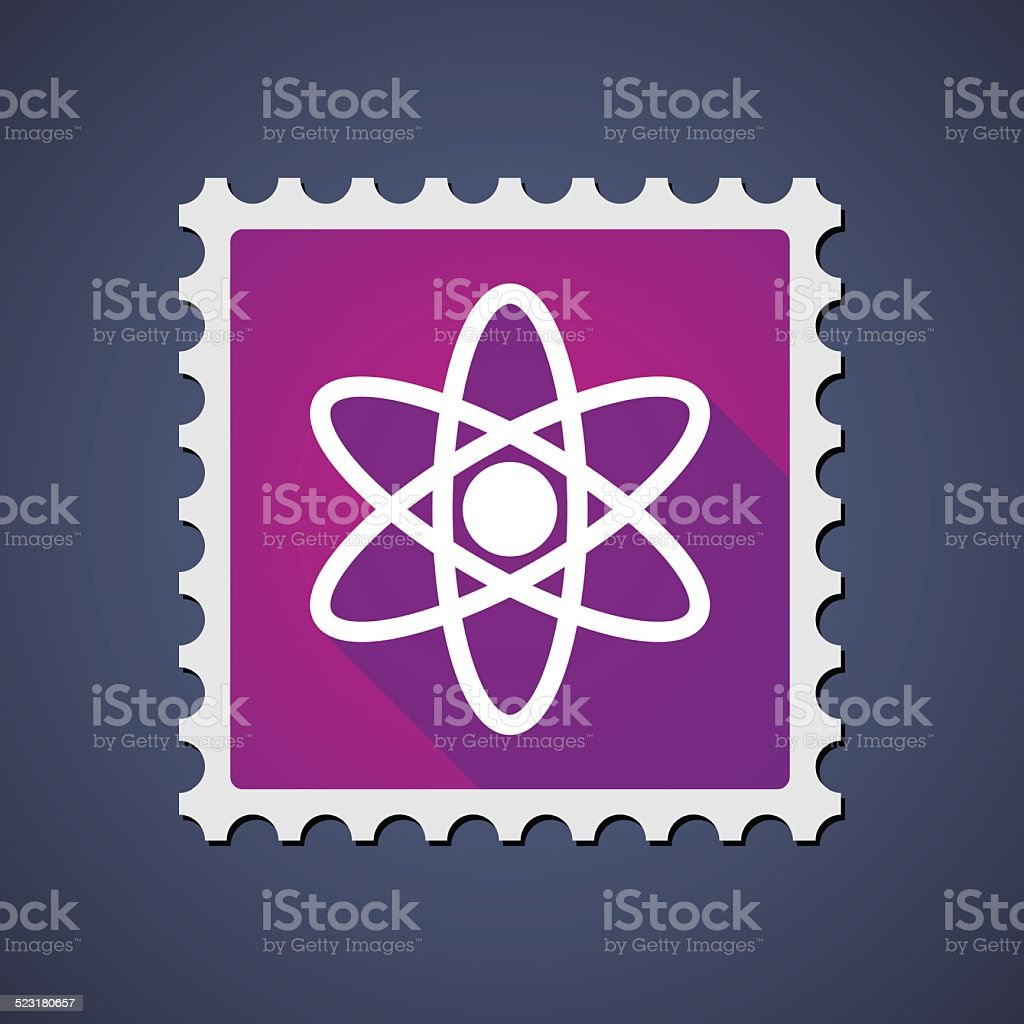 Mail stamp with an atom vector art illustration