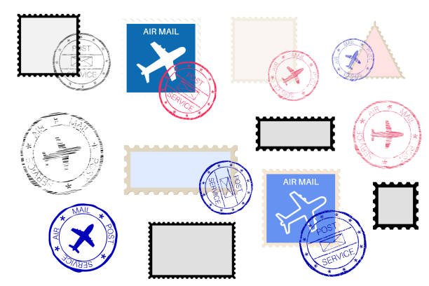 Mail stamps collection and ink impress set Mail stamps collection and ink impress set. Vector illustration isolated on white background airport borders stock illustrations