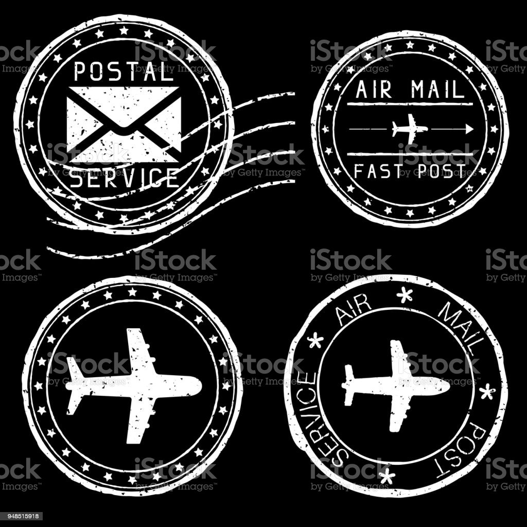 mail stamps for envelopes white vector illustration on black