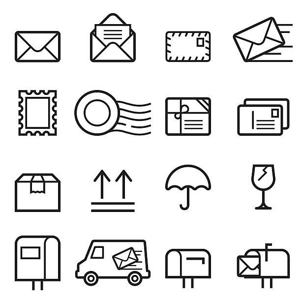 Mail Thin Line Icons Mail Thin Line Icons alphabet symbols stock illustrations