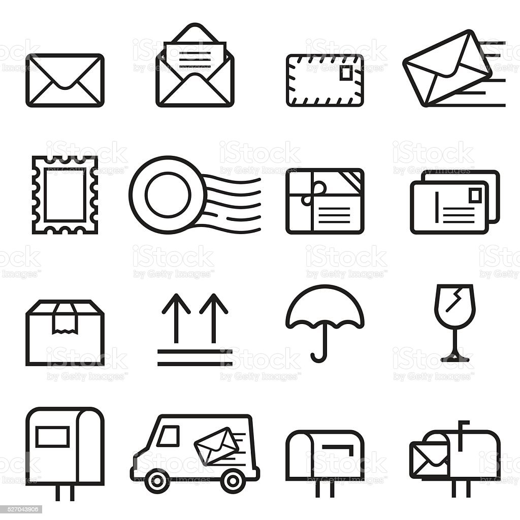 Mail Thin Line Icons vector art illustration