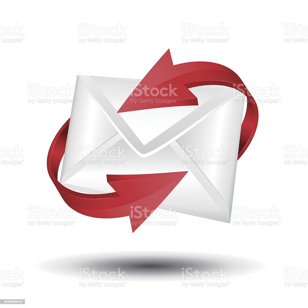 Mail with red circular arrows vector art illustration