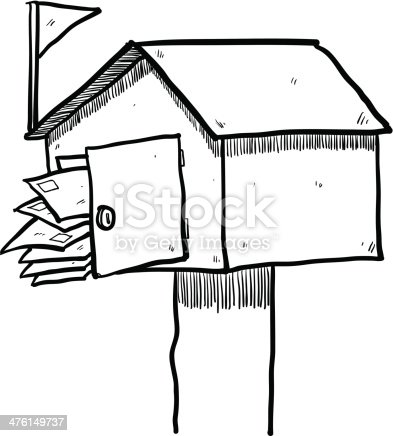 Mailbox Drawing Stock Vector Art & More Images of